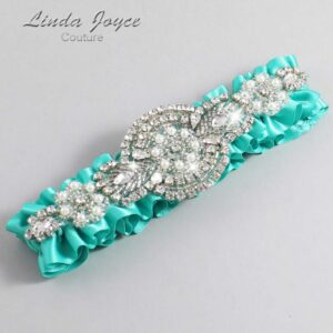 Tropic Wedding Garter / Teal Wedding Garters / Charlotte #01-A06-323-Tropic_Silver / Wedding Garters / Custom Wedding Garters / Bridal Garter / Prom Garter / Linda Joyce Couture