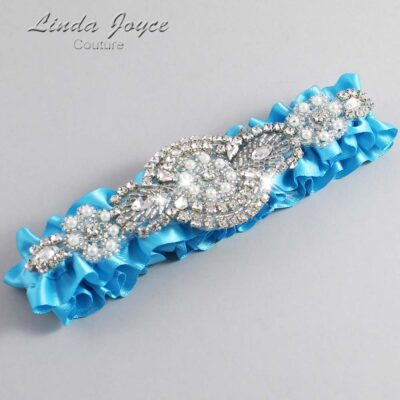 Turquoise Wedding Garter / Blue Wedding Garters / Charlotte #01-A06-340-Turquoise_Silver / Wedding Garters / Custom Wedding Garters / Bridal Garter / Prom Garter / Linda Joyce Couture