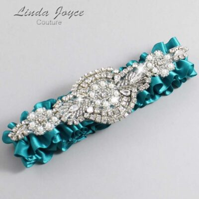 Jade Wedding Garter / Teal Wedding Garters / Charlotte #01-A06-346-Jade_Silver / Wedding Garters / Custom Wedding Garters / Bridal Garter / Prom Garter / Linda Joyce Couture