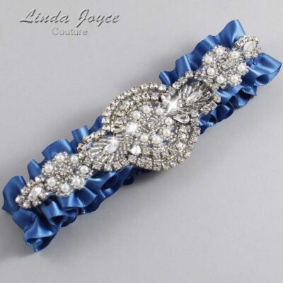 Smoke Blue Wedding Garter / Blue Wedding Garters / Charlotte #01-A06-363-Smoke-Blue_Silver / Wedding Garters / Custom Wedding Garters / Bridal Garter / Prom Garter / Linda Joyce Couture