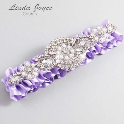 Lavender Wedding Garter / Purple Wedding Garters / Charlotte #01-A06-430-Lavender_Silver / Wedding Garters / Custom Wedding Garters / Bridal Garter / Prom Garter / Linda Joyce Couture