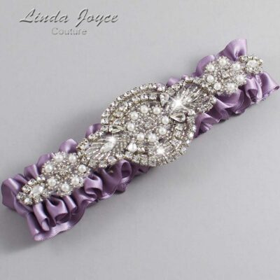 Fresco Wedding Garter / Purple Wedding Garters / Charlotte #01-A06-434-Fresco_Silver / Wedding Garters / Custom Wedding Garters / Bridal Garter / Prom Garter / Linda Joyce Couture
