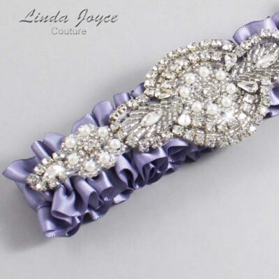 Thistle Wedding Garter / Purple Wedding Garters / Charlotte #01-A06-435-Thistle_Silver / Wedding Garters / Custom Wedding Garters / Bridal Garter / Prom Garter / Linda Joyce Couture