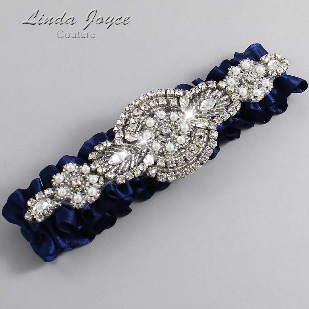 (Satin_Color_Name) Wedding Garter / Blue Wedding Garters / Charlotte #01-A06-508-Navy-Blue_Silver / Wedding Garters / Custom Wedding Garters / Bridal Garter / Prom Garter / Linda Joyce Couture