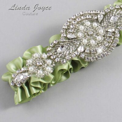 Lime Juice Wedding Garter / Green Wedding Garters / Charlotte #01-A06-524-Lime-Juice_Silver / Wedding Garters / Custom Wedding Garters / Bridal Garter / Prom Garter / Linda Joyce Couture
