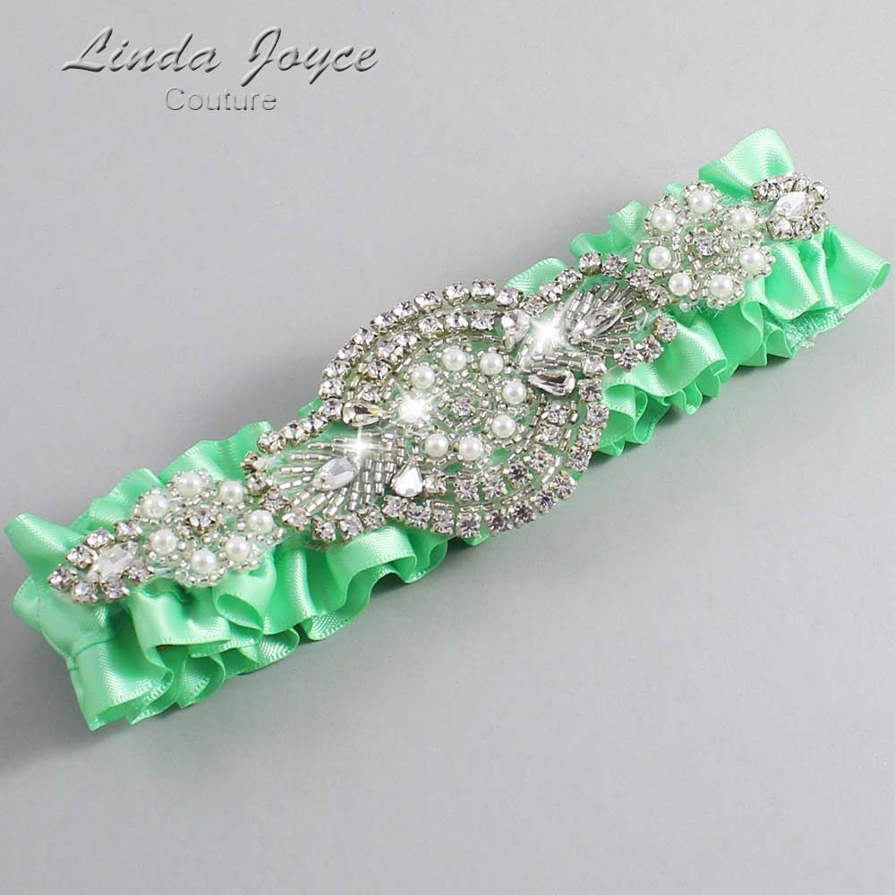 Mint Wedding Garter / Green Wedding Garters / Charlotte #01-A06-531-Mint_Silver / Wedding Garters / Custom Wedding Garters / Bridal Garter / Prom Garter / Linda Joyce Couture