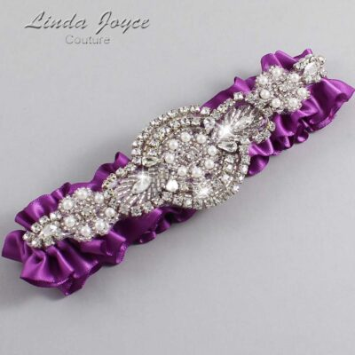 Helio Wedding Garter / Purple Wedding Garters / Charlotte #01-A06-541-Helio_Silver / Wedding Garters / Custom Wedding Garters / Bridal Garter / Prom Garter / Linda Joyce Couture