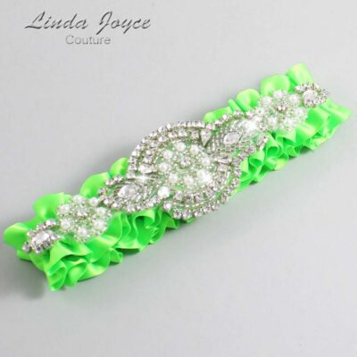 Acid Green Wedding Garter / Green Wedding Garters / Charlotte #01-A06-556-Acid-Green_Silver / Wedding Garters / Custom Wedding Garters / Bridal Garter / Prom Garter / Linda Joyce Couture