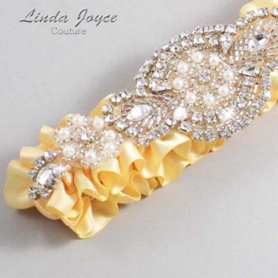 Chamois Wedding Garter / Yellow Wedding Garters / Charlotte #01-A06-614-Chamois_Silver / Wedding Garters / Custom Wedding Garters / Bridal Garter / Prom Garter / Linda Joyce Couture