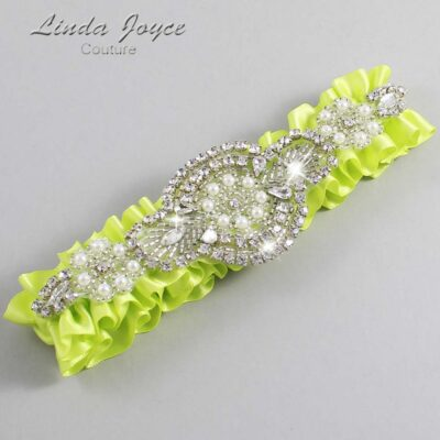 Pineapple Wedding Garter / Yellow Wedding Garters / Charlotte #01-A06-625-Pineapple_Silver / Wedding Garters / Custom Wedding Garters / Bridal Garter / Prom Garter / Linda Joyce Couture
