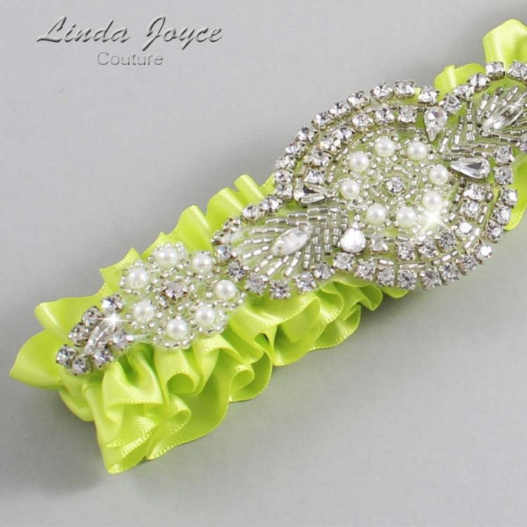 Pineapple Wedding Garter / Yellow Wedding Garters / Wedding Garter / Custom Wedding Garter / Linda Joyce Couture / Charlotte #01-A06-625-Pineapple_Silver