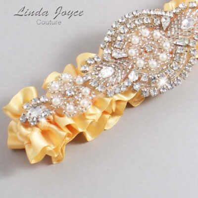 Buttercup Wedding Garter / Yellow Wedding Garters / Charlotte #01-A06-644-Buttercup_Silver / Wedding Garters / Custom Wedding Garters / Bridal Garter / Prom Garter / Linda Joyce Couture