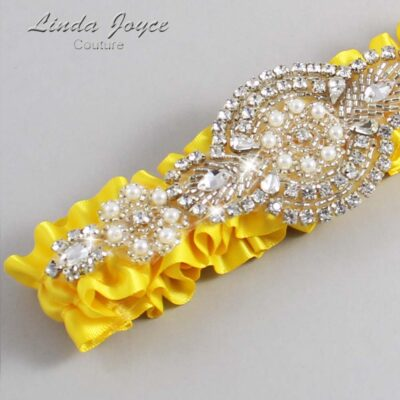 Sunglow Wedding Garter / Yellow Wedding Garters / Charlotte #01-A06-645-Sunglow_Silver / Wedding Garters / Custom Wedding Garters / Bridal Garter / Prom Garter / Linda Joyce Couture