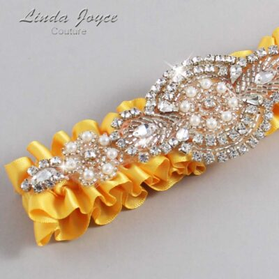 Saffron Wedding Garter / Yellow Wedding Garters / Charlotte #01-A06-658-Saffron_Silver / Wedding Garters / Custom Wedding Garters / Bridal Garter / Prom Garter / Linda Joyce Couture