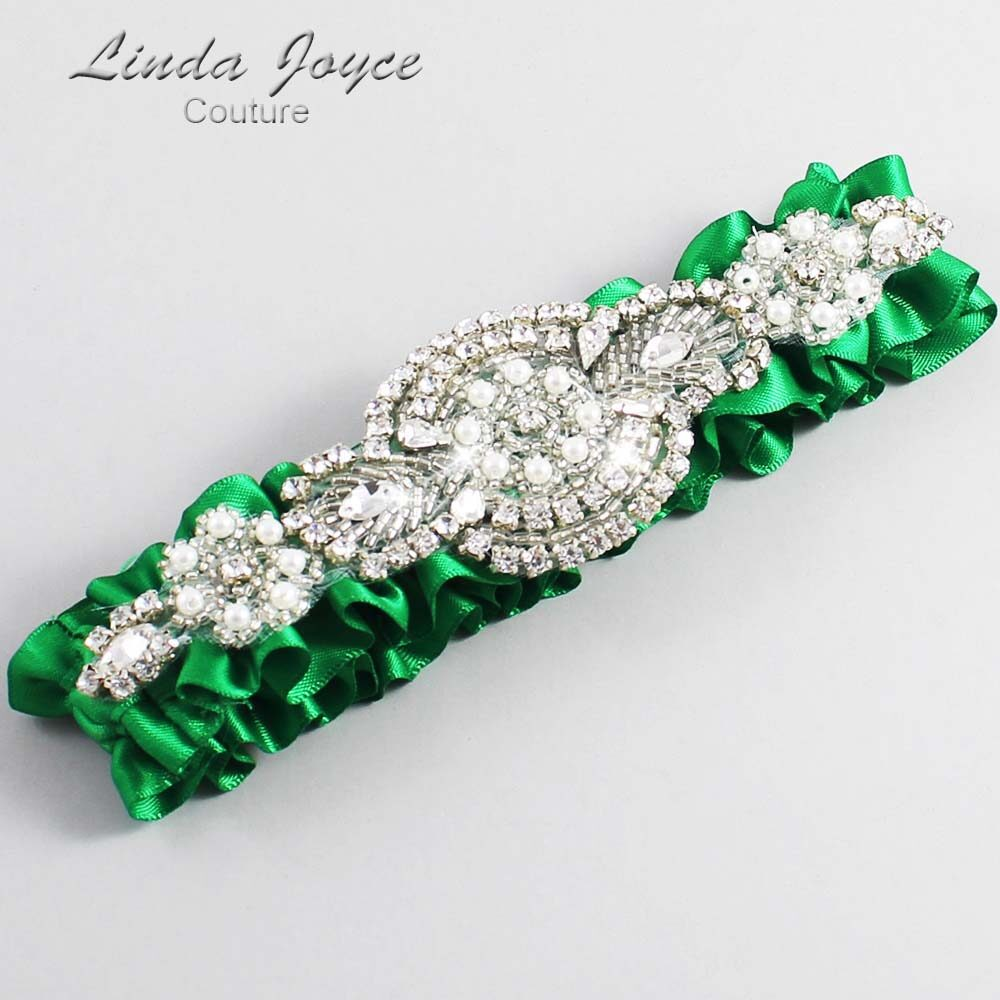 Emerald Green Wedding Garter / Green Wedding Garters / Charlotte #01-A06-684-Emerald-Green_Silver / Wedding Garters / Custom Wedding Garters / Bridal Garter / Prom Garter / Linda Joyce Couture