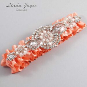 Salmon Wedding Garter / Orange Wedding Garters / Charlotte #01-A06-720-Salmon_Silver / Wedding Garters / Custom Wedding Garters / Bridal Garter / Prom Garter / Linda Joyce Couture