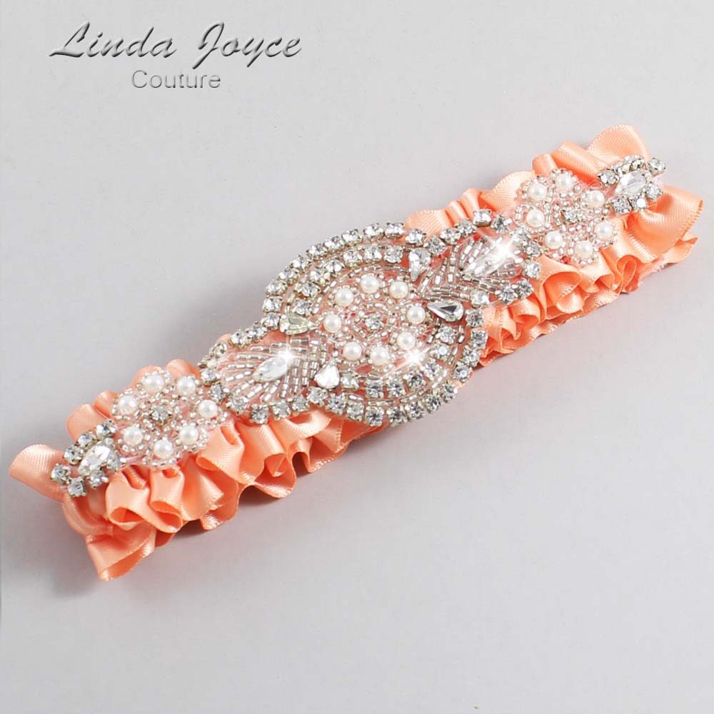 Peach Wedding Garter / Orange Wedding Garters / Charlotte #01-A06-805-Peach_Silver / Wedding Garters / Custom Wedding Garters / Bridal Garter / Prom Garter / Linda Joyce Couture