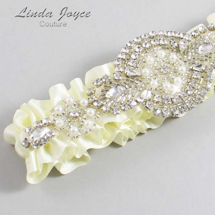 Candlelight Wedding Garter / Ivory Wedding Garters / Wedding Garter / Custom Wedding Garter / Linda Joyce Couture / Charlotte #01-A06-820-Candlelight_Silver