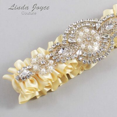 Buttermilk Wedding Garter / Yellow Wedding Garters / Charlotte #01-A06-824-Buttermilk_Silver / Wedding Garters / Custom Wedding Garters / Bridal Garter / Prom Garter / Linda Joyce Couture