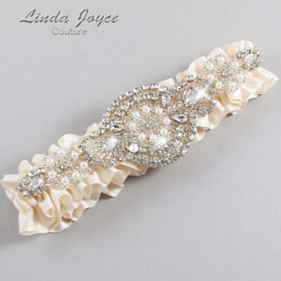 Antique White Wedding Garter / Ivory Wedding Garters / Charlotte #01-A06-860-Antique-White_Silver / Wedding Garters / Custom Wedding Garters / Bridal Garter / Prom Garter / Linda Joyce Couture