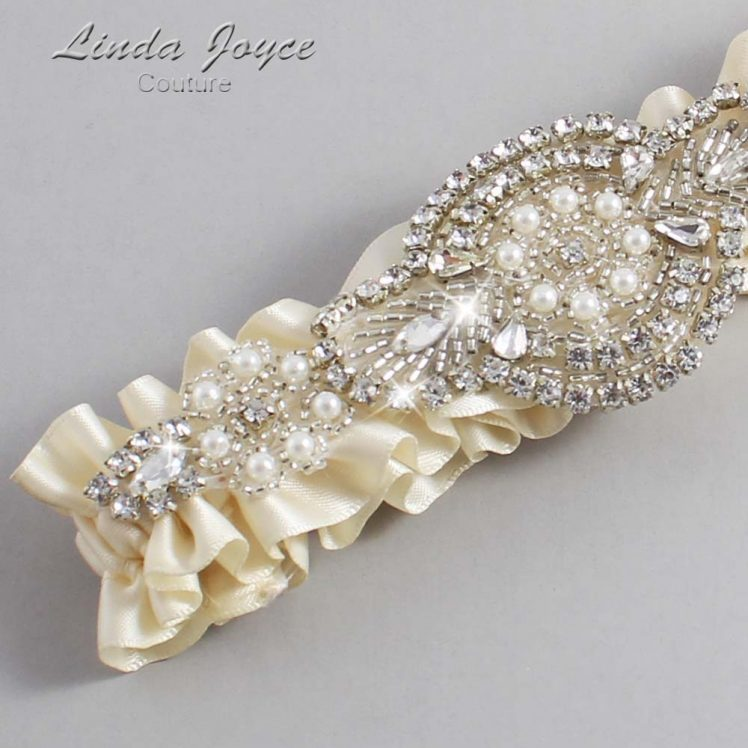 Ivory Wedding Garter / Ivory Wedding Garters / Wedding Garter / Custom Wedding Garter / Linda Joyce Couture / Charlotte #01-A06-871-Ivory_Silver