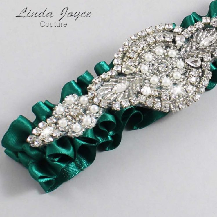 Hunter Green Wedding Garter / Green Wedding Garters / Wedding Garter / Custom Wedding Garter / Linda Joyce Couture / Charlotte #01-A06-925-Hunter-Green_Silver