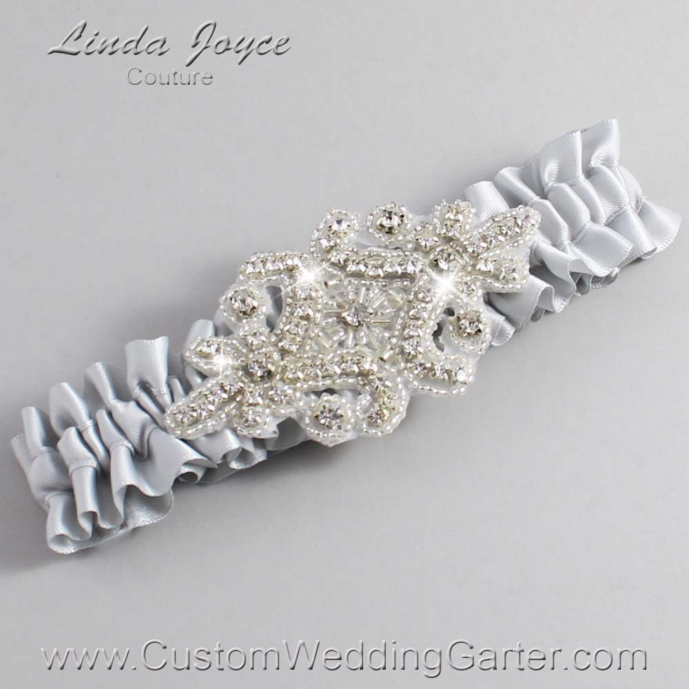 Shell Gray Wedding Garter / Gray) Wedding Garters / Heather #01-A07-007-Shell-Gray_Silver / Wedding Garters / Custom Wedding Garters / Bridal Garter / Prom Garter / Linda Joyce Couture