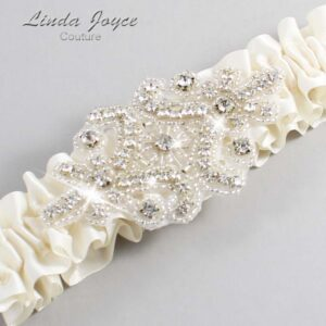 Old Lace Wedding Garter / Ivory Wedding Garters / Heather #01-A07-028-Old-Lace_Silver / Wedding Garters / Custom Wedding Garters / Bridal Garter / Prom Garter / Linda Joyce Couture