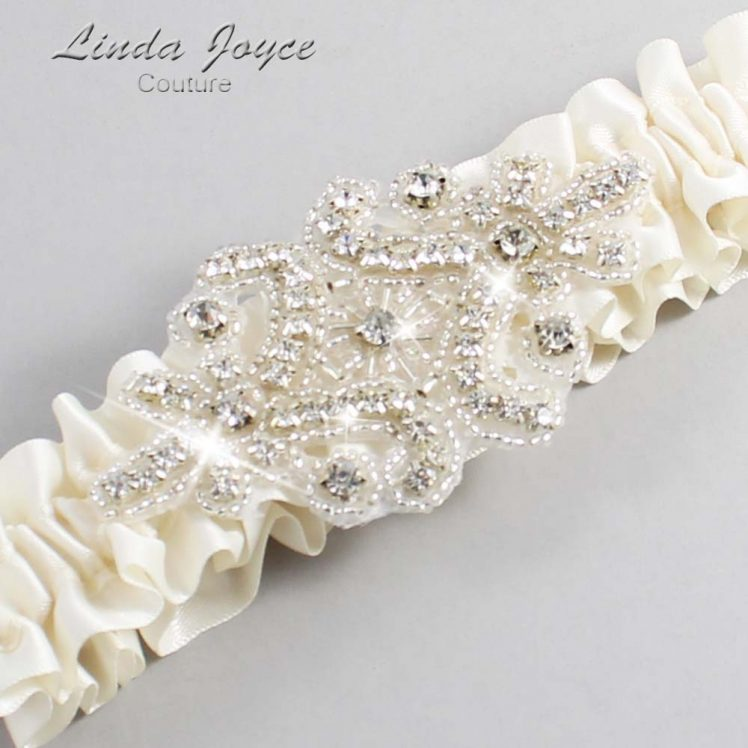 Old Lace Wedding Garter / Ivory Wedding Garters / Wedding Garter / Custom Wedding Garter / Linda Joyce Couture / Heather #01-A07-028-Old-Lace_Silver