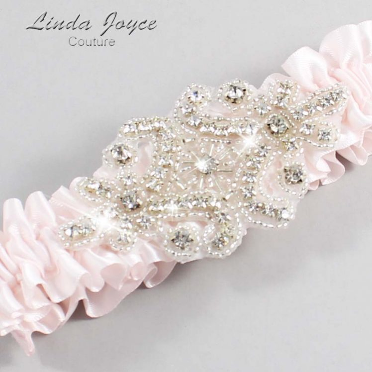 Sideshow Rose Wedding Garter / Pink Wedding Garters / Wedding Garter / Custom Wedding Garter / Linda Joyce Couture / Heather #01-A07-105-Sideshow-Rose_Silver