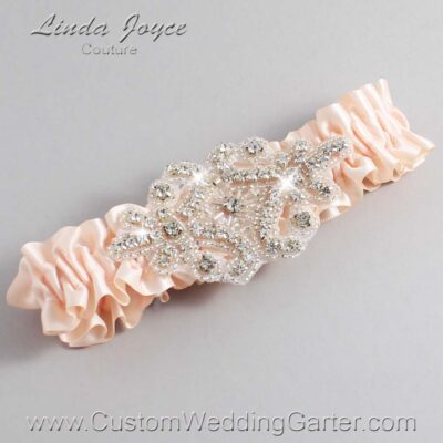 Nude Wedding Garter / Orange Wedding Garters / Heather #01-A07-113-Nude_Silver / Wedding Garters / Custom Wedding Garters / Bridal Garter / Prom Garter / Linda Joyce Couture