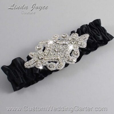 Black Wedding Garter / Black Wedding Garters / Heather #01-A07-123-Black_Silver / Wedding Garters / Custom Wedding Garters / Bridal Garter / Prom Garter / Linda Joyce Couture