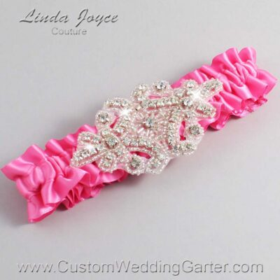 Persian Pink Wedding Garter / Pink Wedding Garters / Heather #01-A07-142-Persian-Pink_Silver / Wedding Garters / Custom Wedding Garters / Bridal Garter / Prom Garter / Linda Joyce Couture
