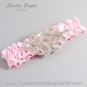 Light Pink Wedding Garter / Pink Wedding Garters / Heather #01-A07-145-Light-Pink_Silver / Wedding Garters / Custom Wedding Garters / Bridal Garter / Prom Garter / Linda Joyce Couture