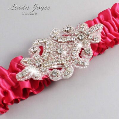 (Satin_Color_Name) Wedding Garter / Pink Wedding Garters / Heather #01-A07-157-Camellia-Rose_Silver / Wedding Garters / Custom Wedding Garters / Bridal Garter / Prom Garter / Linda Joyce Couture