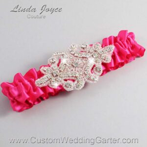 Hot Magenta Wedding Garter / Pink Wedding Garters / Heather #01-A07-175-Hot-Magenta_Silver / Wedding Garters / Custom Wedding Garters / Bridal Garter / Prom Garter / Linda Joyce Couture