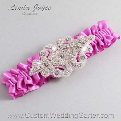 Rose Bloom Wedding Garter / Pink Wedding Garters / Heather #01-A07-182-Rose-Bloom_Silver / Wedding Garters / Custom Wedding Garters / Bridal Garter / Prom Garter / Linda Joyce Couture