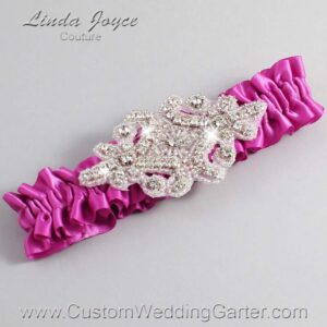 Garden Rose Wedding Garter / Pink Wedding Garters / Heather #01-A07-183-Garden-Rose_Silver / Wedding Garters / Custom Wedding Garters / Bridal Garter / Prom Garter / Linda Joyce Couture