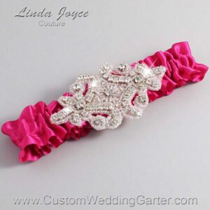 Azalea Wedding Garter / Pink Wedding Garters / Heather #01-A07-187-Azalea_Silver / Wedding Garters / Custom Wedding Garters / Bridal Garter / Prom Garter / Linda Joyce Couture