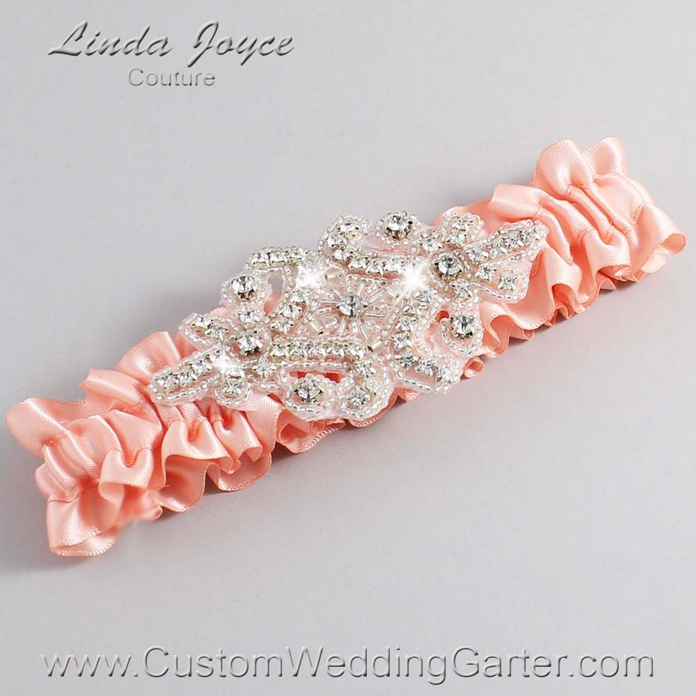 Moonstone Wedding Garter / Orange Wedding Garters / Heather #01-A07-203-Moonstone_Silver / Wedding Garters / Custom Wedding Garters / Bridal Garter / Prom Garter / Linda Joyce Couture