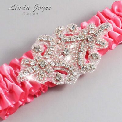 Coral Rose Wedding Garter / Pink Wedding Garters / Heather #01-A07-210-Coral-Rose_Silver / Wedding Garters / Custom Wedding Garters / Bridal Garter / Prom Garter / Linda Joyce Couture