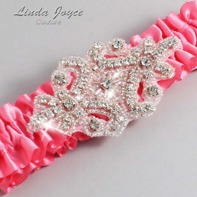 Coral Rose Wedding Garter / Pink Wedding Garters / Wedding Garter / Custom Wedding Garter / Linda Joyce Couture / Heather #01-A07-210-Coral-Rose_Silver