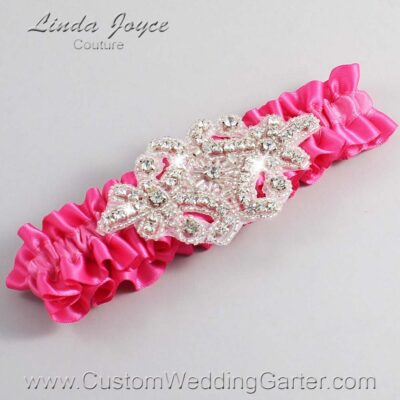 Fuchsia Wedding Garter / Pink Wedding Garters / Heather #01-A07-233-Fuchsia_Silver / Wedding Garters / Custom Wedding Garters / Bridal Garter / Prom Garter / Linda Joyce Couture