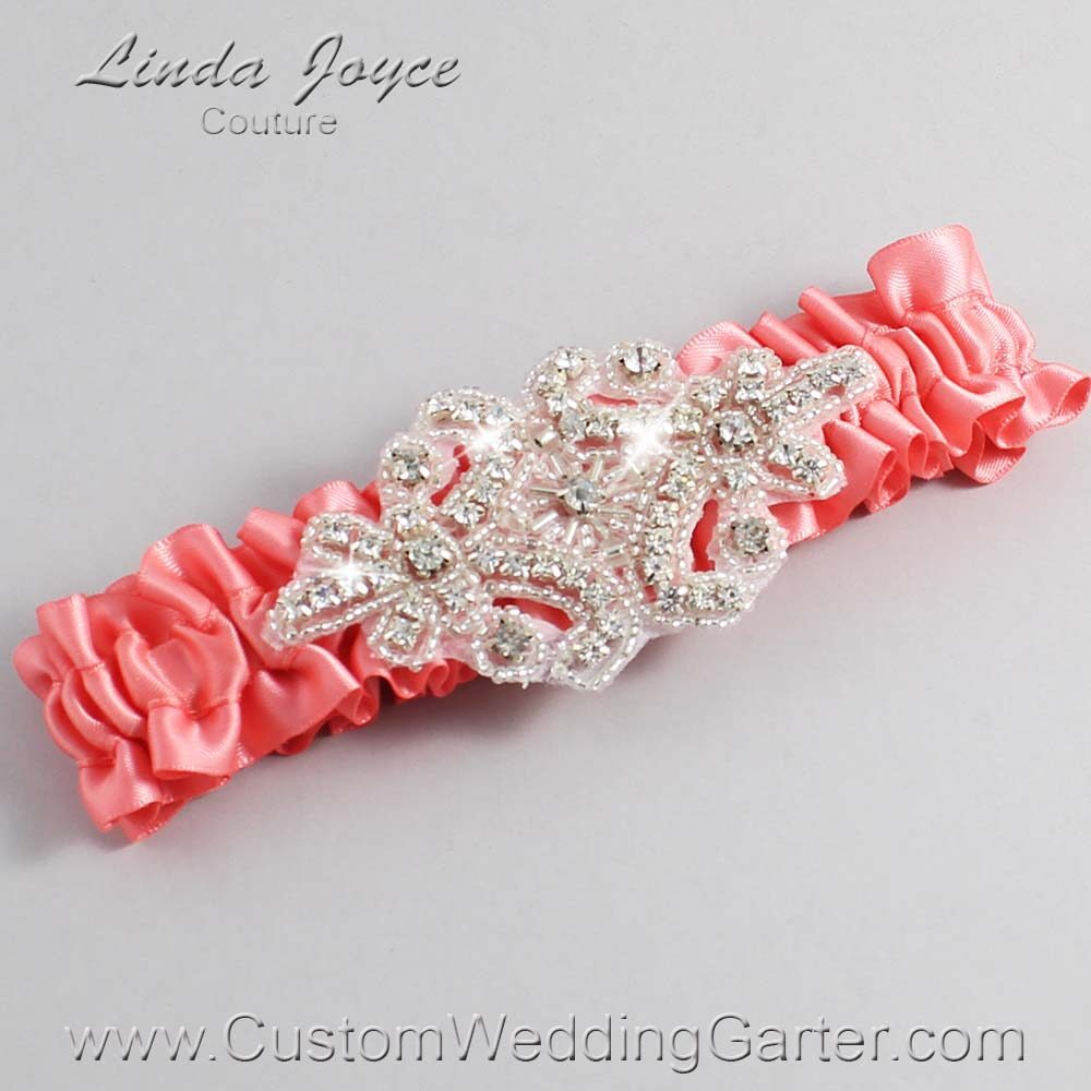 Light Coral Wedding Garter / Orange Wedding Garters / Heather #01-A07-238-Light-Coral_Silver / Wedding Garters / Custom Wedding Garters / Bridal Garter / Prom Garter / Linda Joyce Couture