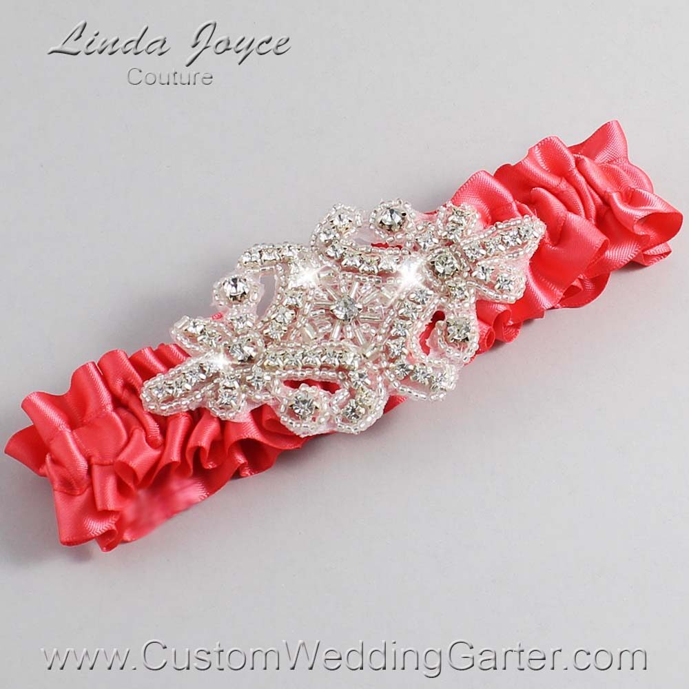 Watermelon Wedding Garter / Orange Wedding Garters / Heather #01-A07-243-Watermelon_Silver / Wedding Garters / Custom Wedding Garters / Bridal Garter / Prom Garter / Linda Joyce Couture