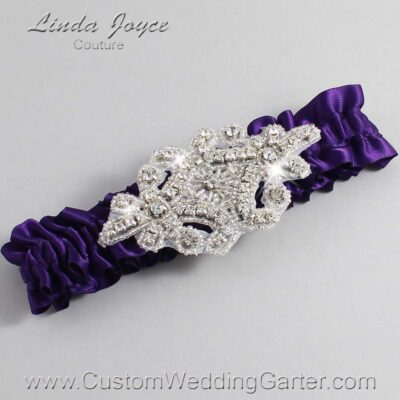 Plum Wedding Garter / Purple Wedding Garters / Heather #01-A07-285-Plum_Silver / Wedding Garters / Custom Wedding Garters / Bridal Garter / Prom Garter / Linda Joyce Couture