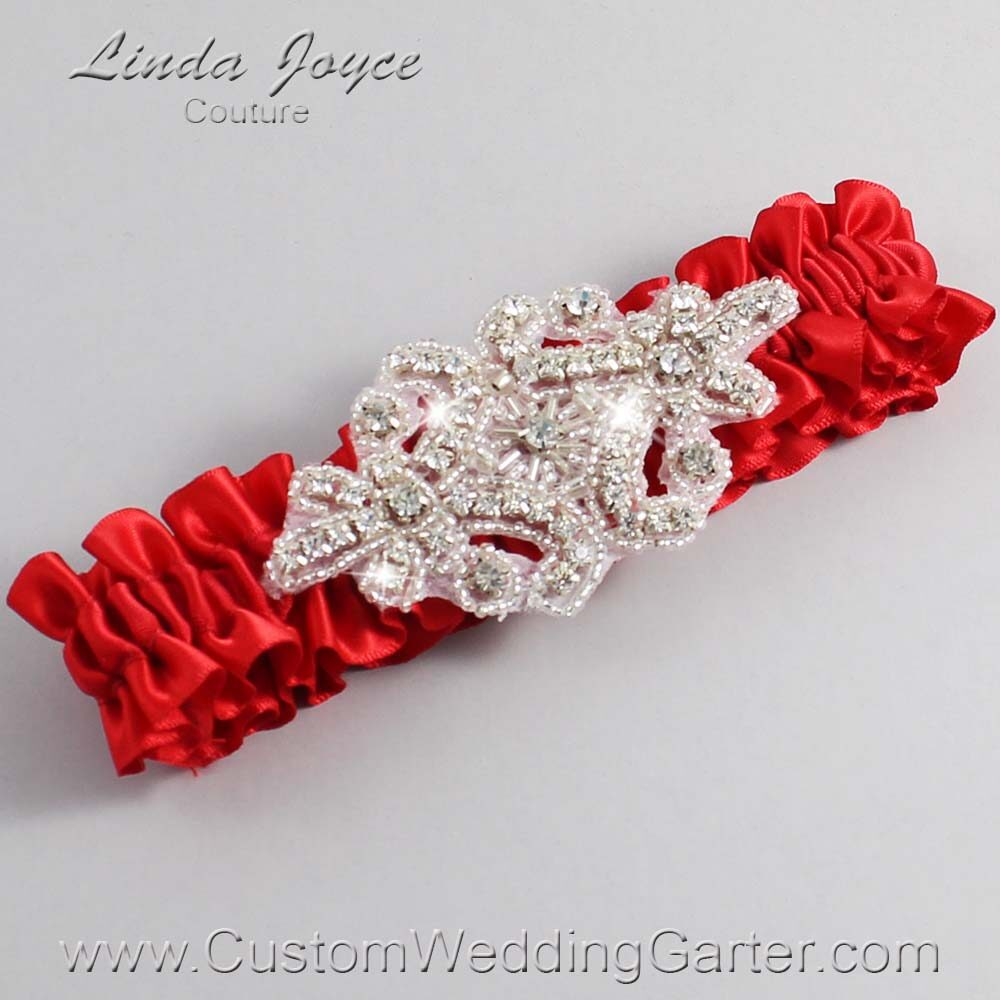 Red Wedding Garter / Red Wedding Garters / Heather #01-A07-299-Red_Silver / Wedding Garters / Custom Wedding Garters / Bridal Garter / Prom Garter / Linda Joyce Couture