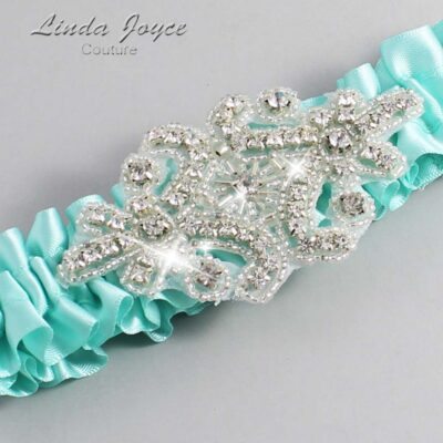 Aqua Wedding Garter / Teal Wedding Garters / Heather #01-A07-314-Aqua_Silver / Wedding Garters / Custom Wedding Garters / Bridal Garter / Prom Garter / Linda Joyce Couture