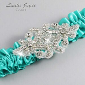Tropic Wedding Garter / Teal Wedding Garters / Heather #01-A07-323-Tropic_Silver / Wedding Garters / Custom Wedding Garters / Bridal Garter / Prom Garter / Linda Joyce Couture