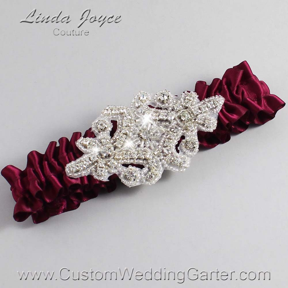 Wine Wedding Garter / Burgundy Wedding Garters / Heather #01-A07-332-Wine_Silver / Wedding Garters / Custom Wedding Garters / Bridal Garter / Prom Garter / Linda Joyce Couture